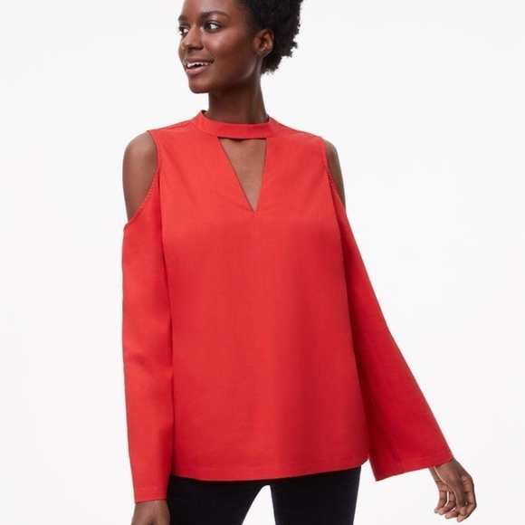 5248fcfdfd520f LOFT Small Blouse Red CutOut Cold Shoulder Shirt